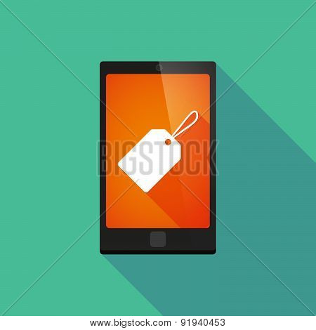 Long Shadow Phone Icon With A Product Label