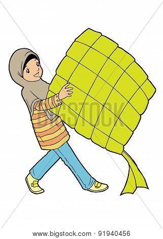 Muslim Girl With Big Ketupat