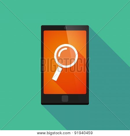 Long Shadow Phone Icon With A Magnifier