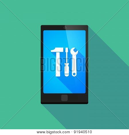 Long Shadow Phone Icon With A Tool Set