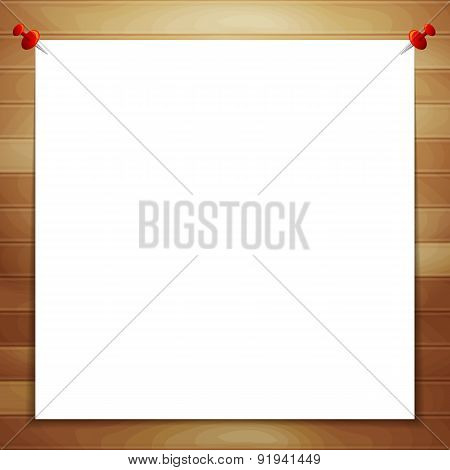 White Sheet Of Paper On Wooden Background With Space For Text.