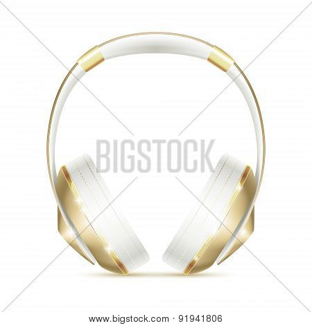 Realistic white and golden fashion glamour headphones icon isolated.