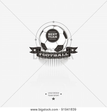 Soccer And Football Emblem, Logo, Badge With Ribbon For Sports Design In Black And White.