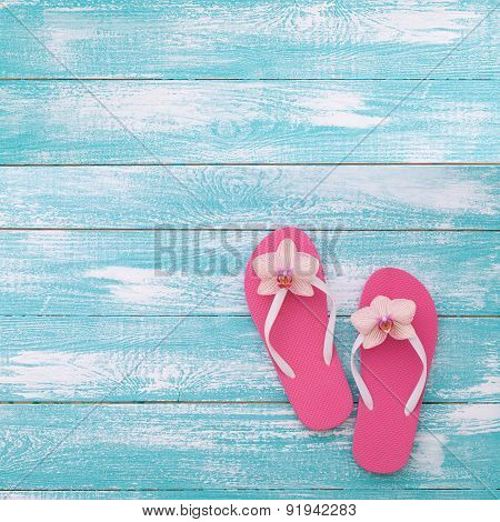 Summer, wooden walkway, beach accessories mock up for design