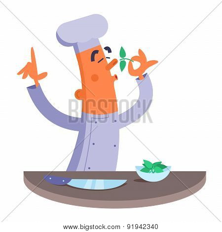 Cartoon chef smelling the fresh herbs