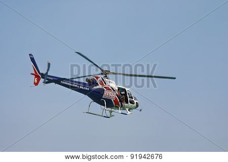 Helicopter Patroling Copacabana Beach In Rio De Janeiro Brazil