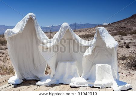 Plaster White Statues As Symbols Of The Abandoned Miner's Ghost City Rhyolite In Nevada Open Air Gol