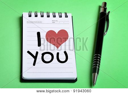 I Love You Word On Notebook