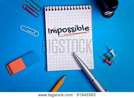 Impossible Word On Notebook