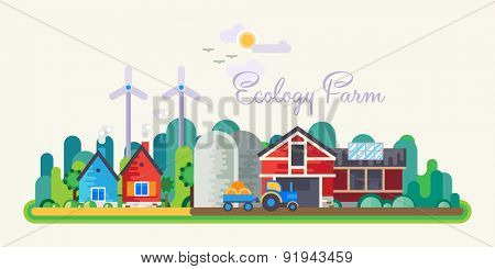Vector flat illustrations - Eco style life. Eco farm. Green energy.