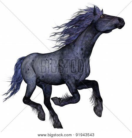 Black blue horse running - 3D render