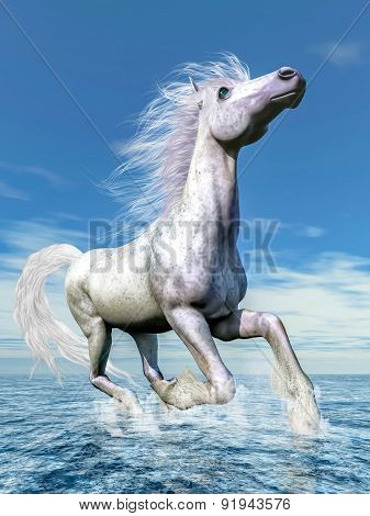 White horse freedom - 3D render