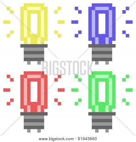 illustration pixel art icon light bulb