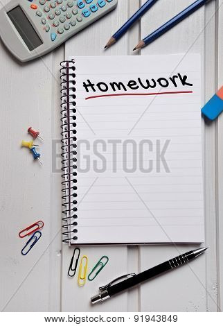 Homework Word On Notebook
