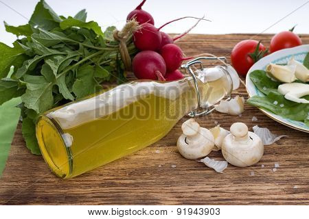 Two Champignons Next To Bottle With Homemade Lemonade