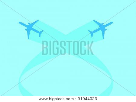 vector image of silhouettes of jet airplanes