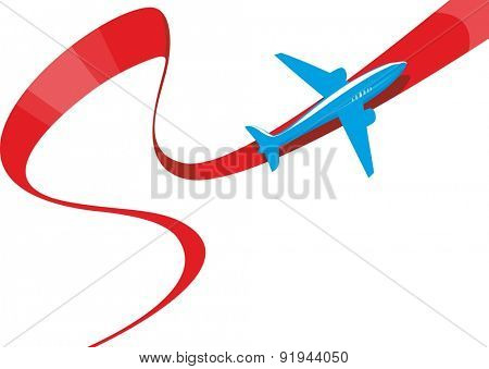 vector image of silhouette of jet airplane