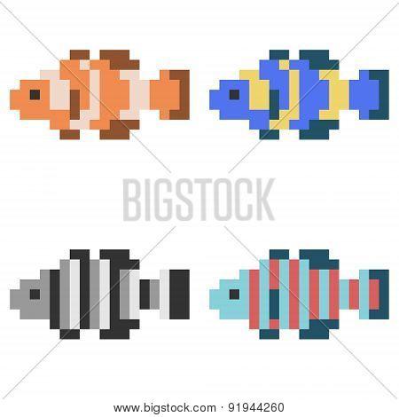 illustration pixel art icon fish