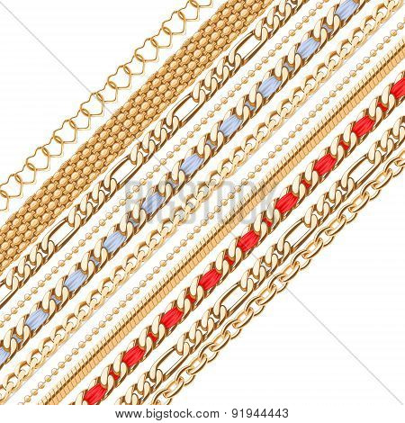 Colorful golden chains background.