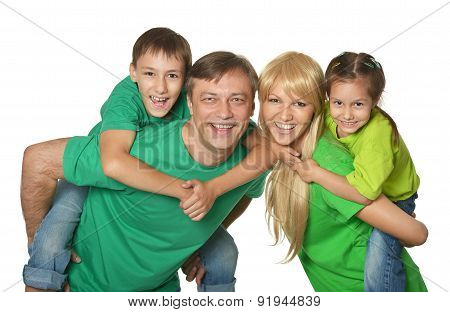 Portrait of a cheerful family of four