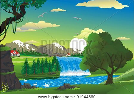 Countryside - House By The Waterfall [