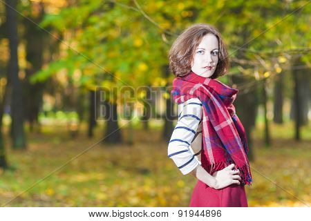Fashion Concept And Ideas: Young Caucasian Female Brunette Woman In Made To Measure Clothing