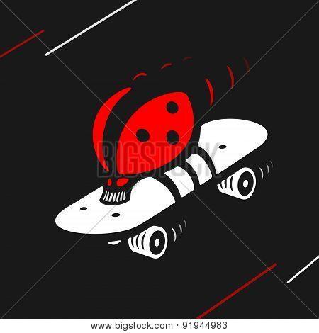 Vector Symbol Ladybug Speed Skating
