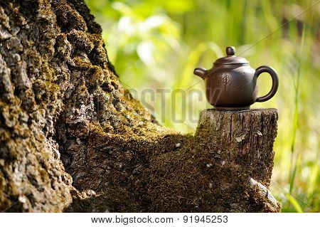 Chinese Clay Teapot On Old Wooden Stump With Moss On Bright Green Background