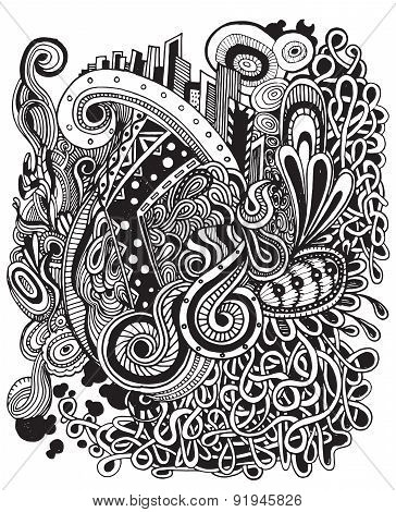 Vector Illustration Of Doodle Hipster Pattern