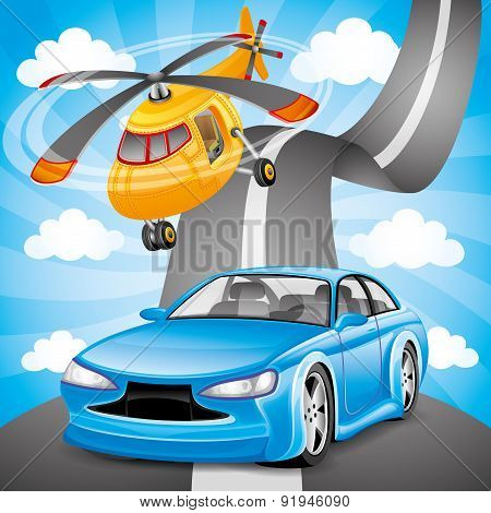 Blue car and orange helicopter.