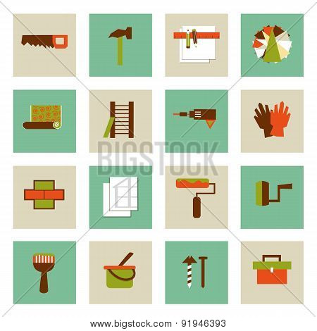 Set Of  Flat Working Tools Icons. Repair Their Own Hands.