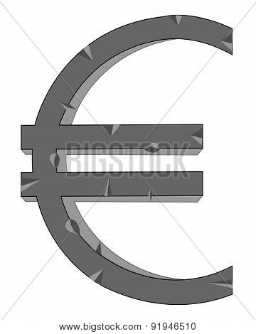 Sign euro from stone