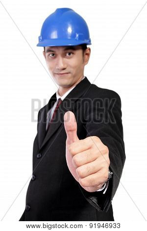 Young Architect Giving Thumb Up, Isolated On White