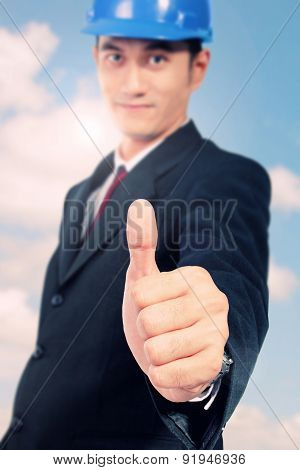 Conceptual Image Of Trust And Safety. Architect With Thumb Up