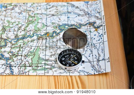 Compass On The Map.