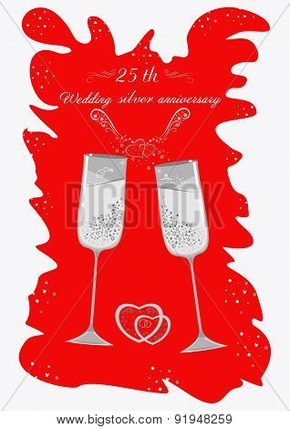 Silver wedding champagne glasses