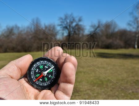Compass On The Palm
