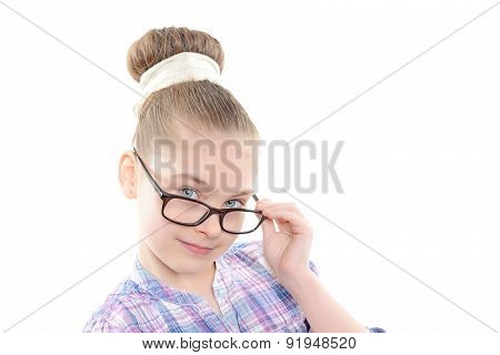 Small girl wearing glasses
