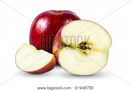 Red sweet apple with slice isolated on white background