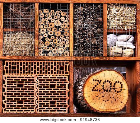 Insect Hotel Made From The Natural Materials For Various Insect To Colonize And Protect
