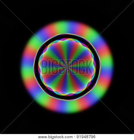 Colorful Blurry Rainbow Rays In Circular Floral Pattern