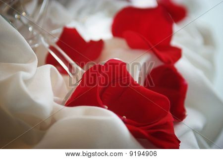 Roses And A Glass On A Bridal Table