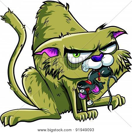 Cartoon cat has caught a mouse