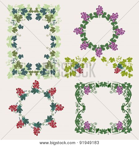 Frame With Grapes And Grape Design Elements
