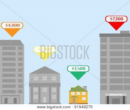 Selection of comfortable and inexpensive housing in the city. Vector Illustration