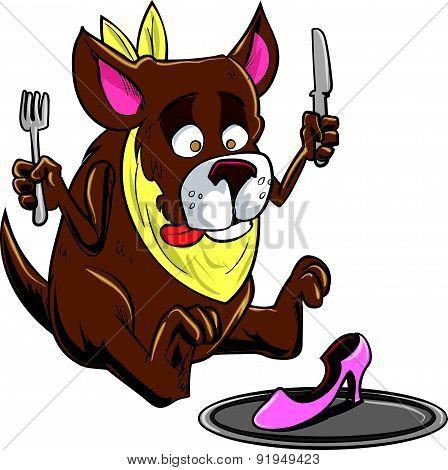 Cartoon dog eating a shoe