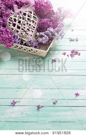 Postcard With  Lilac Flowers On Tray And Decorative Heart