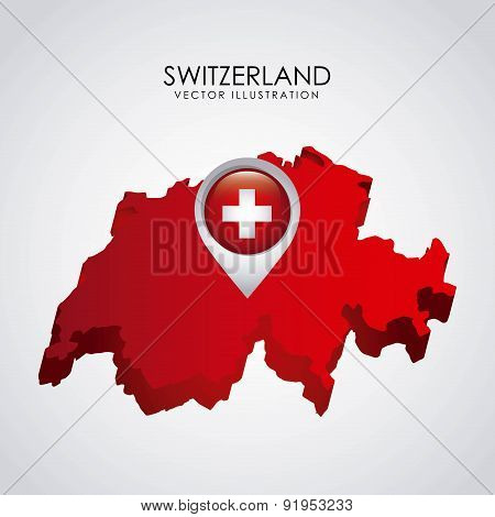 Swiss map over gray background vector illustration