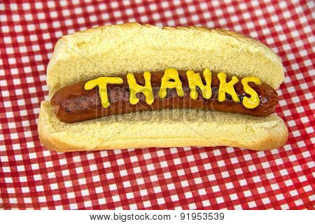 thanks on a hot dog