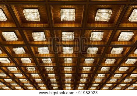 Many Old Vintage Lamps Wooden Ceiling